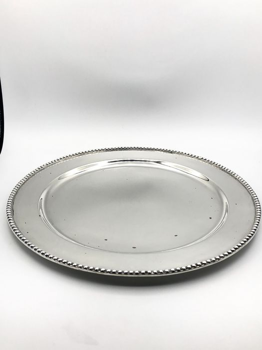 Large, heavy 1st grade silver tray with pearl edge - .925 silver - Mexico - First half 20th century
