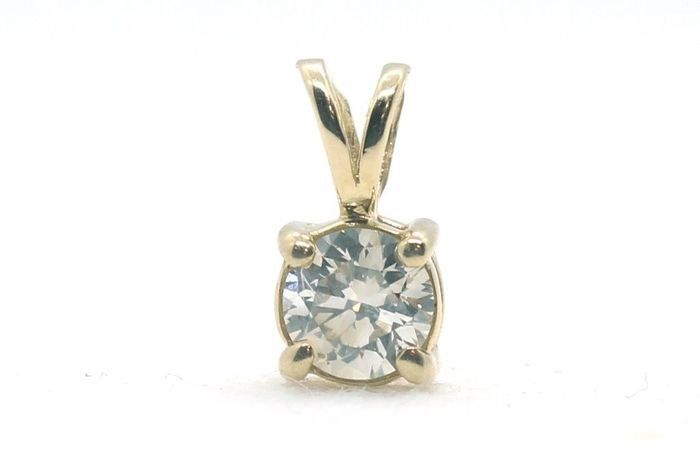 14 kt. Yellow gold, No Reserve Price H SI1,  chain 14 Kt 1gr - 42cm  - Pendant, Natural - 0.43 ct Diamond