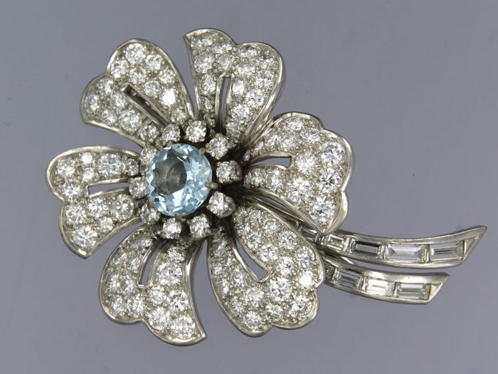18 quilates Oro blanco - Broche - 5.00 ct Diamante - Aguamarina