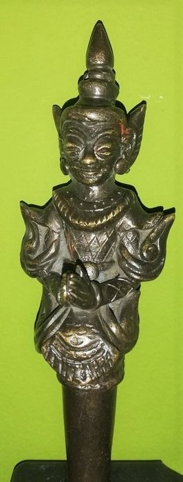 Ace acupunctură - Bronz pictat - Burma - Early 20th century