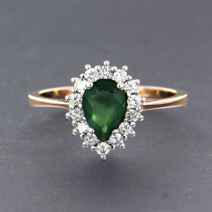 18 kt. Pink gold, White gold - Ring - 0.50 ct Emerald - Diamond
