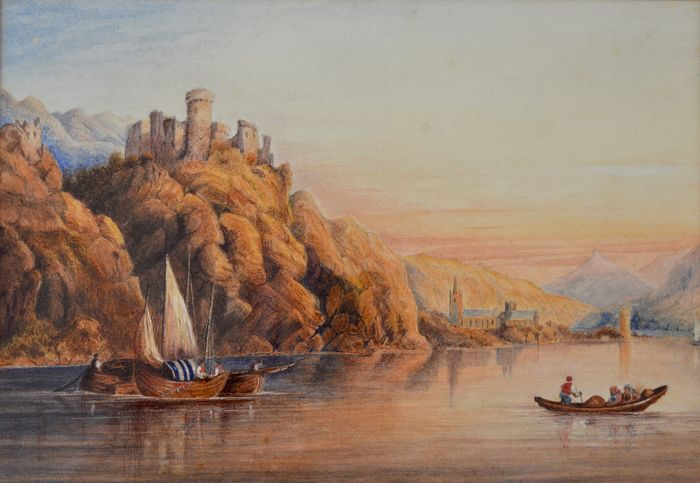 Continental school (19th century) - A lake scene with boats and distant castle