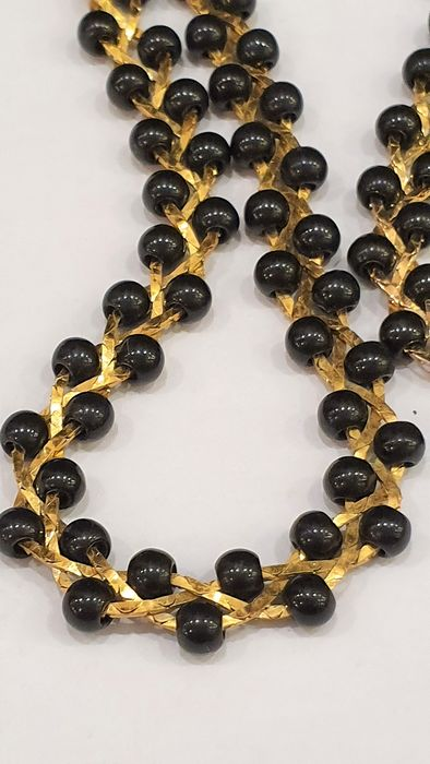 TRIFARI  gold plated black acryl bead - collier Necklace