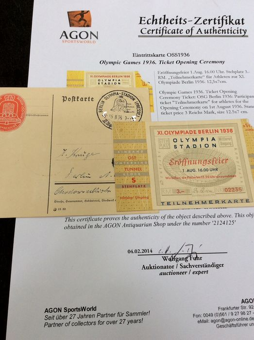 Germany. Berlin Olympics 1936. Original opening ceremony ticket. ( participant's ) with authenticity - 1936 Olympic postal press card with special postmark and vignette.