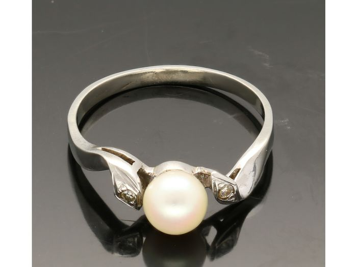 14 kt. White gold - Ring - 0.01 ct Pearl - Diamond