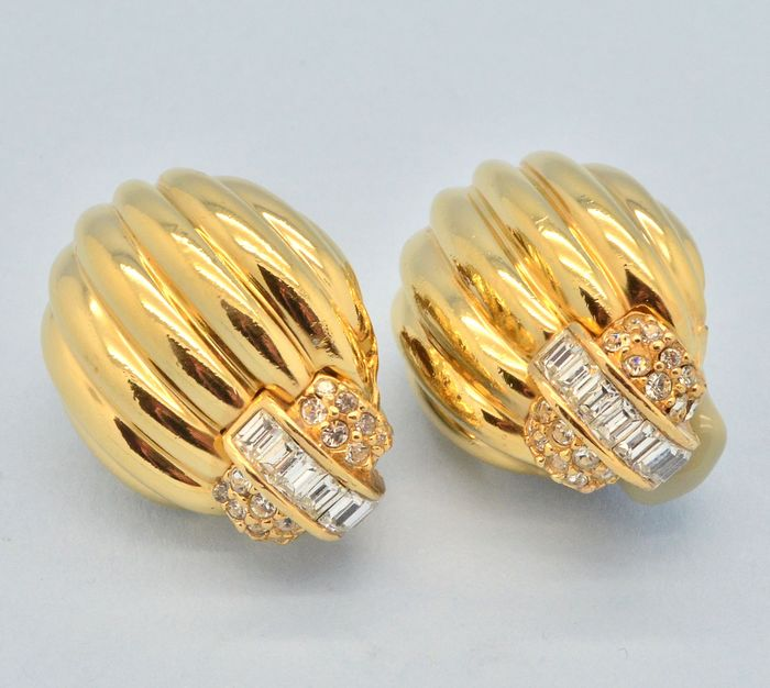 Ciner Vintage Large 1980s Art Deco Style Clear Crystal Gold Plated - Earrings