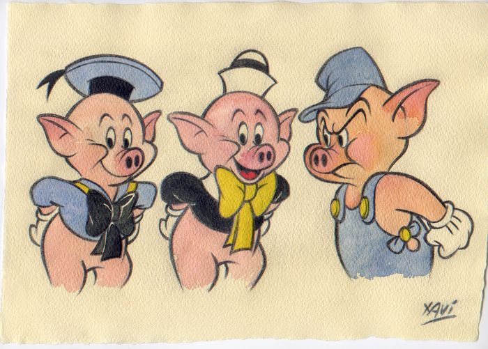 Disney characters - Original drawing - The Three Little Pigs - First edition - (2018)