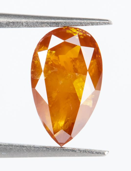 Diamante - 1.01 ct - Natural Fantasía INTENSO Amarillo Naranja - I3  *NO RESERVE*
