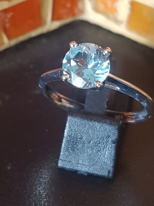 10 kt White gold - Ring - 1.10 ct Aquamarine