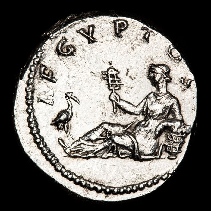 "Roman Empire - Denarius - Hadrian (117 - 138 A.D.). Rome mint 118-121 AD.  ""Travel Series"" issue. AEGYPTOS. Egypt reclining. - Silver"