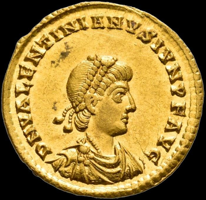 Roman Empire - Solidus - Valentinian II. 375-392 AD - Treveri mint, 380. - VICTORIA AVGG / TROBS Two emperors, Victory . - Gold