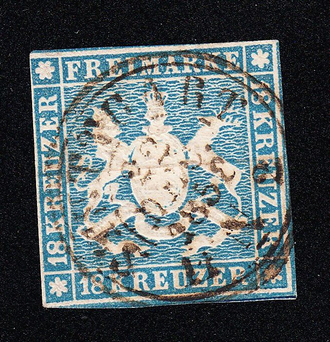 Württemberg 1857 - nice postage stamp with complete postmark, small corner crease, narrow cut, otherwise very good - Michel 10 a