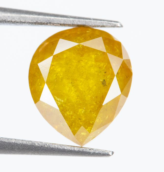 Diamond - 1.44 ct - Natural Fancy INTENSE Yellow - I3  *NO RESERVE*