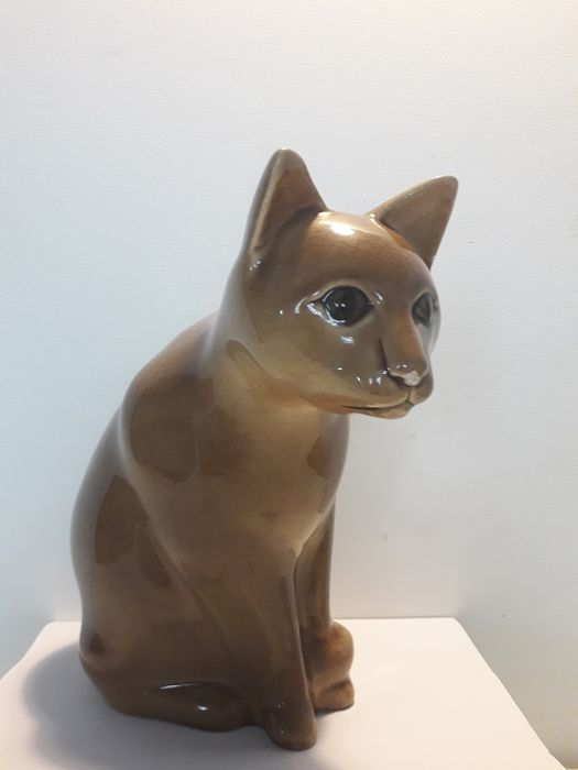 Charolles France - Art deco cat in cracked earthenware