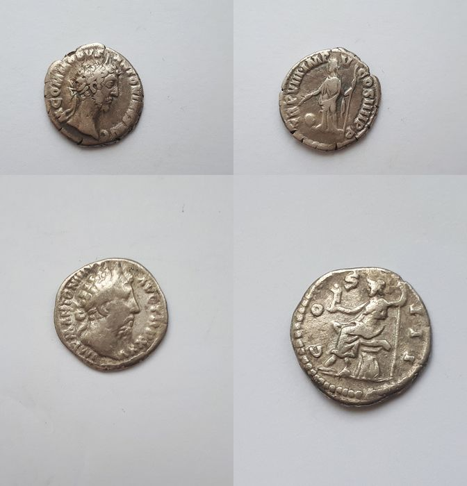 Roman Empire - Lot comprising 2 AR Denarii: Commodus (AD 177-192) / Marcus Aurelius (AD 161-180)  - Silver