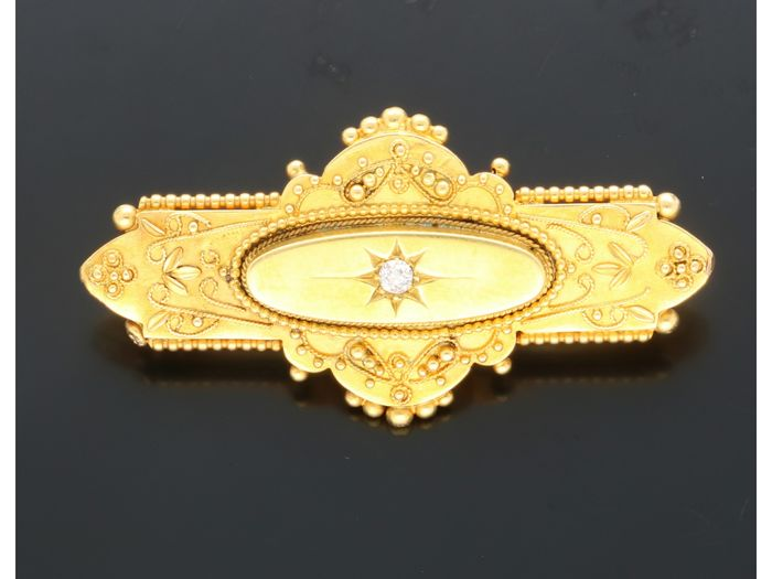 18 kt. Yellow gold - Brooch - 0.05 ct Diamond