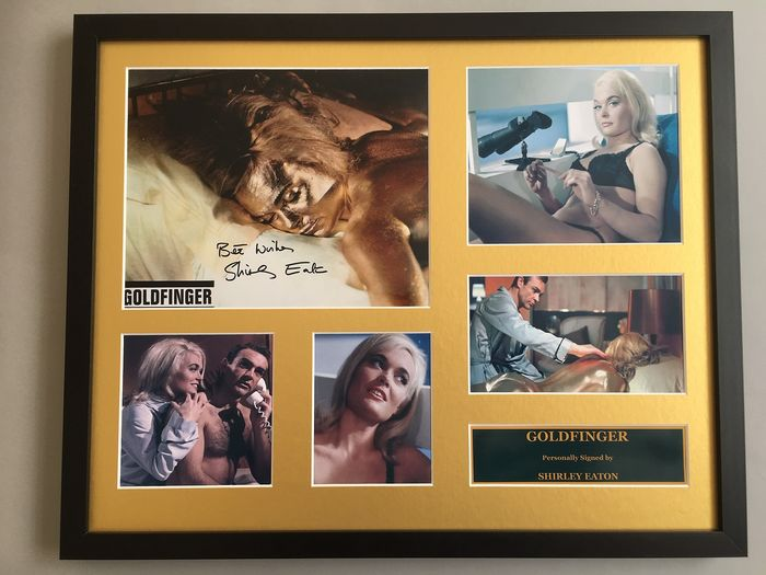James Bond 007 - Goldfinger - - Shirley Eaton as Jill Masterson - Hand Signed Photo in Large Deluxe Frame - COA