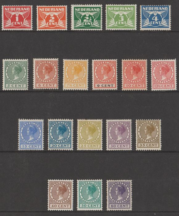 Netherlands 1924/1926 - Flying pigeon and Wilhelmina 'Veth' - NVPH 144/148 + 149/162
