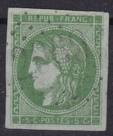 France 1870 - Bordeaux 5c - Calves certificate - Yvert 42B