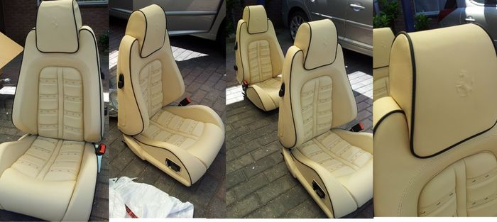 RARE set Ferrari F430 Power Seats, Beige Leather Daytona Style Black Piping -MINT! - Ferrari - RARE set Ferrari F430 Power Seats, Beige Leather Daytona Style Black Piping -MINT! - 2009-2009
