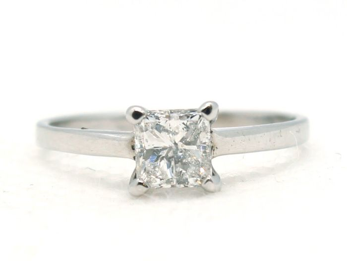 No Reserve Price -Princess - 14 kt. White gold, D SI2 - Ring - Clarity enhanced 0.52 ct Diamond