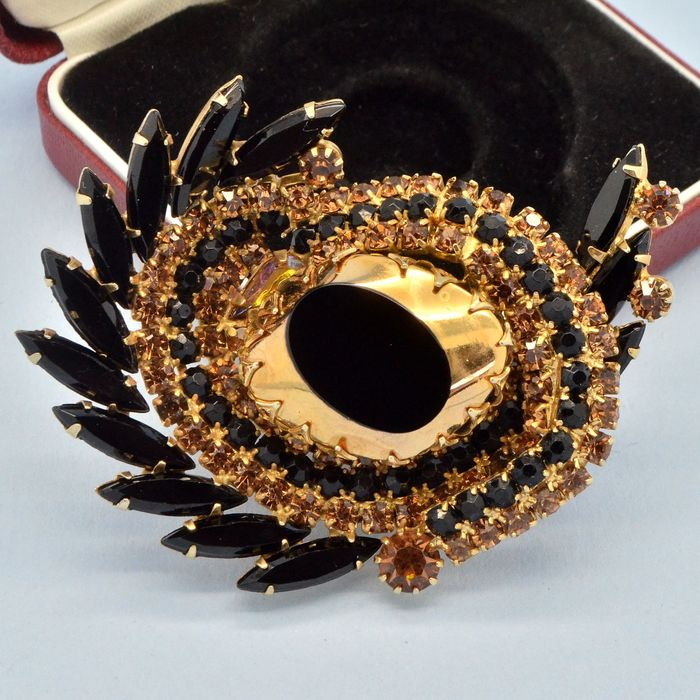 Delizza & Elster Juliana Rare Large Vintage 1960s Black Glass & Champagne Crystal Gold Plated - Brooch
