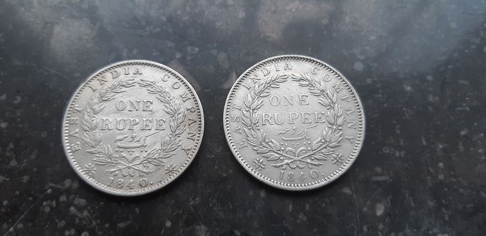 Brits Oost-India - Rupee 1840 Victoria (2 different types)  - Zilver