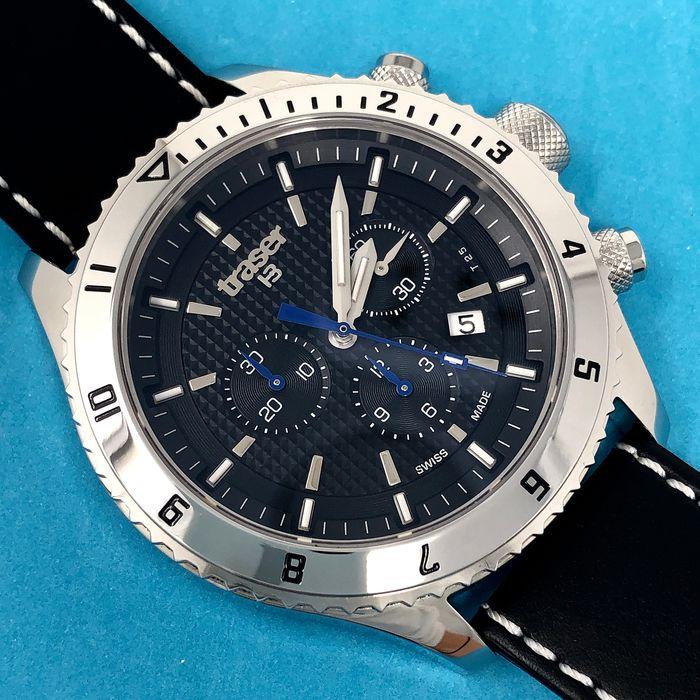 """Traser -  T5 Master Chronograph with Black Leather Strap Swiss Made - """"NO RESERVE PRICE"""" 106974 - Homme - Brand New"""