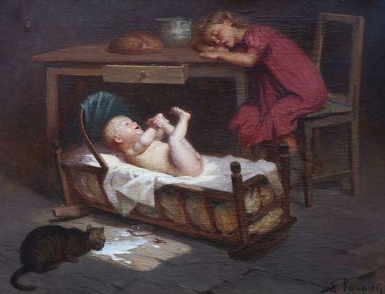 Edouard Jerome Paupion (1845-1912) - Looking after Baby