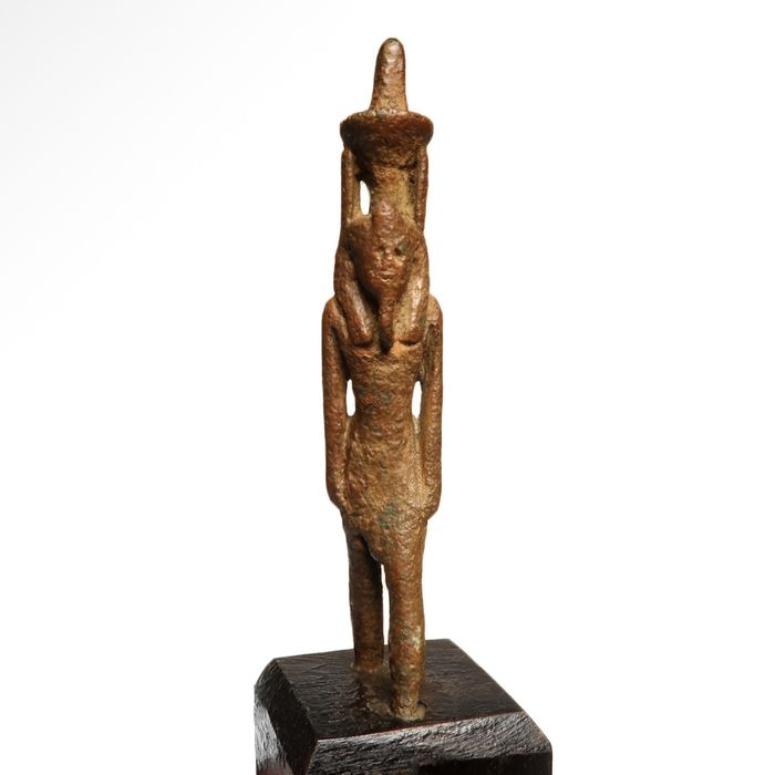 Ancient Egyptian Bronze  Figure of Nefertum (God of the Perfumes) with Open Lotus and Plumes