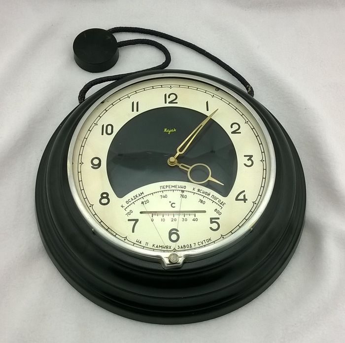 Soviet Navy Ship Clock Mayak  - Bakelite, Steel, Metal - Second half 20th century