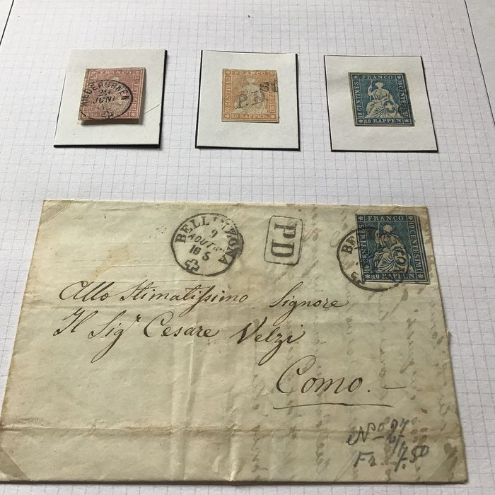 Switzerland - Cancel collection on letters and stamps