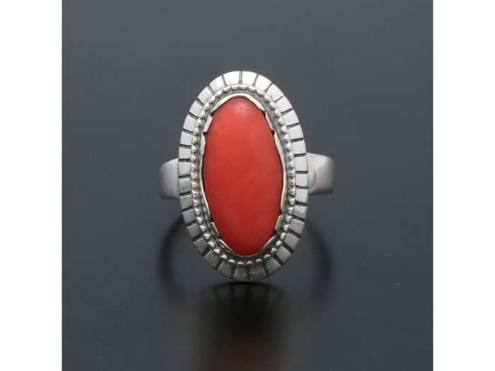 835 Silver - Red coral ring