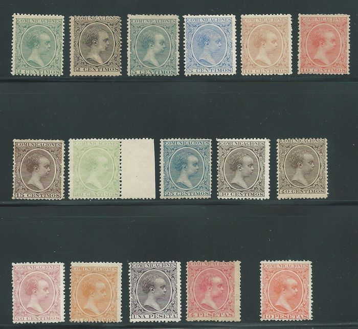 Spanien 1889/1901 - Complete series of Alfonso XIII of Spain, close-cropped type - Edifil 213/28