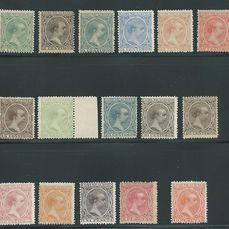 Spanje 1889/1901 - Complete series of Alfonso XIII of Spain, close-cropped type - Edifil 213/28