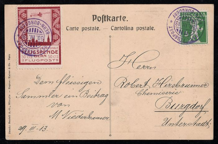 Switzerland 1913 - Airmail precursor Bern on very nicely written original airmail picture postcard - Zumstein Nr. III, Michel Nr. III