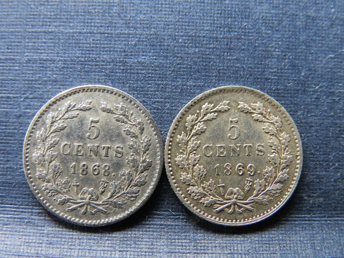The Netherlands - 5 Cent 1868 & 1869 Willem lll - Silver