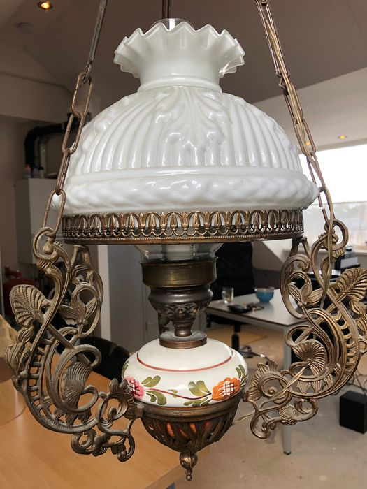 Hanging lamp / oil lamp - Brass, Bronze (gilt/silvered/patinated/cold painted)