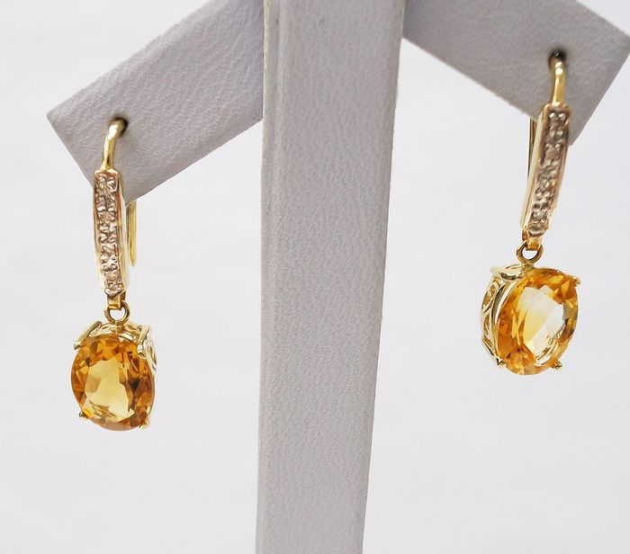 14 kt. Yellow gold - Earrings - 3.45 ct Citrine - Diamond