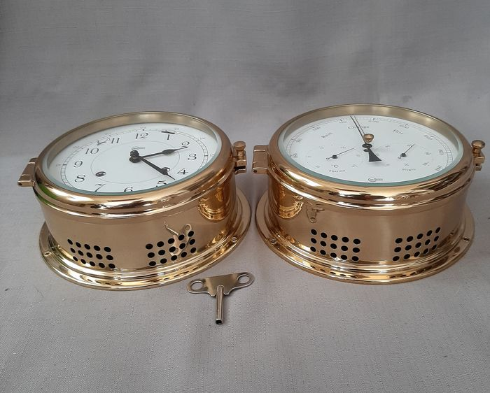 Barigo - A beautiful set with ship's clock and thermometer / hygrometer - Brass, Glass