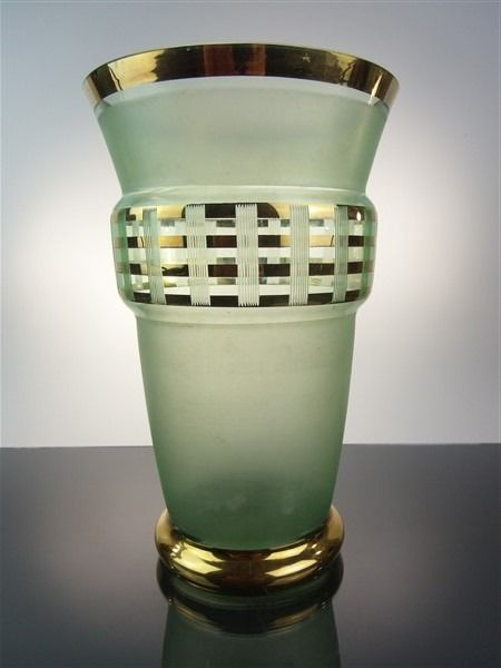 Tree - Vase with gold decoration and satin finishes - Glass