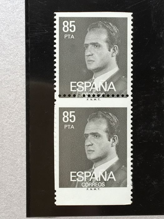 Espagne 1981 - Juan Carlos, imperforated + uncatalogued variety. Graus cert. - Edifil 2604s parcial + 2604dh variedad