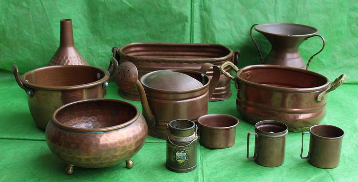 Antique Lot of 11 copper objects - Italy end 800 - Copper