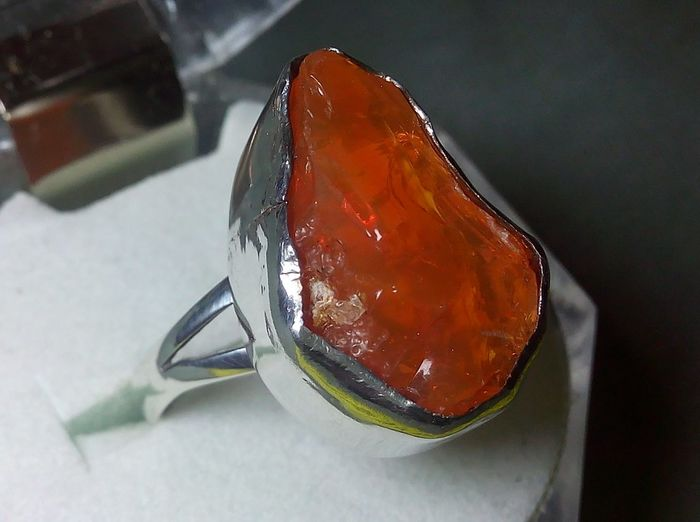 Top Quality Rough Fire Opal -  925 Silver Ring - 4.85 g