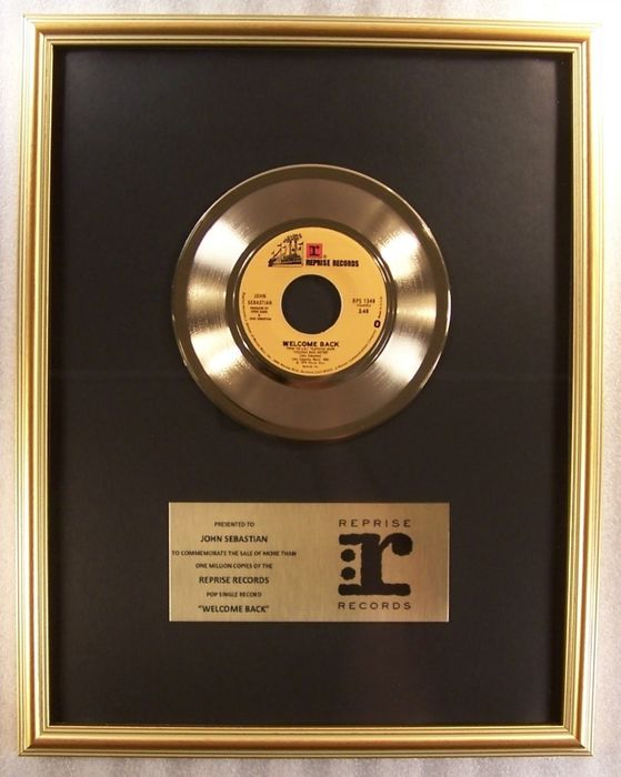 "John Sebastian - ""Welcome Back"" 45 RPM Gold Record Award To John Sebastian - Official In-House award - 1976/1976"