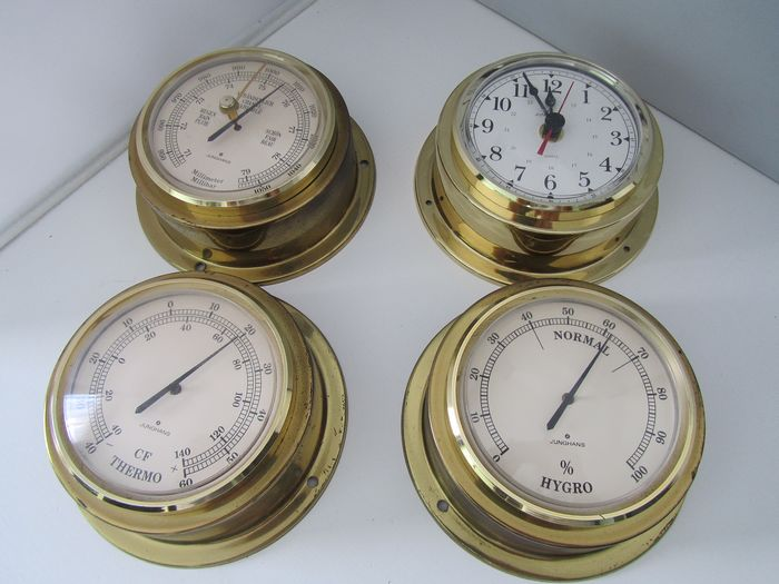 Barometer, Clock, Hygrometer, Thermometer (4) - Brass, Plastic - Second half 20th century