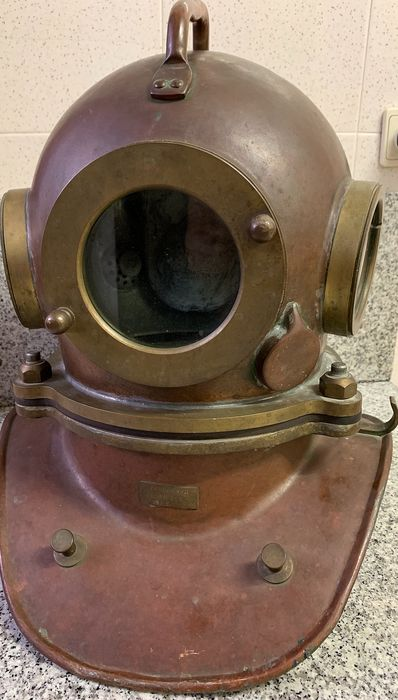 Vintage Soviet Three-bolt Diving Helmet & Suit (2) - Brass, Copper - 1987