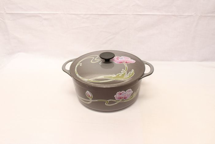 Old enameled Cousances frying pan with flowers   - Iron (cast/wrought)