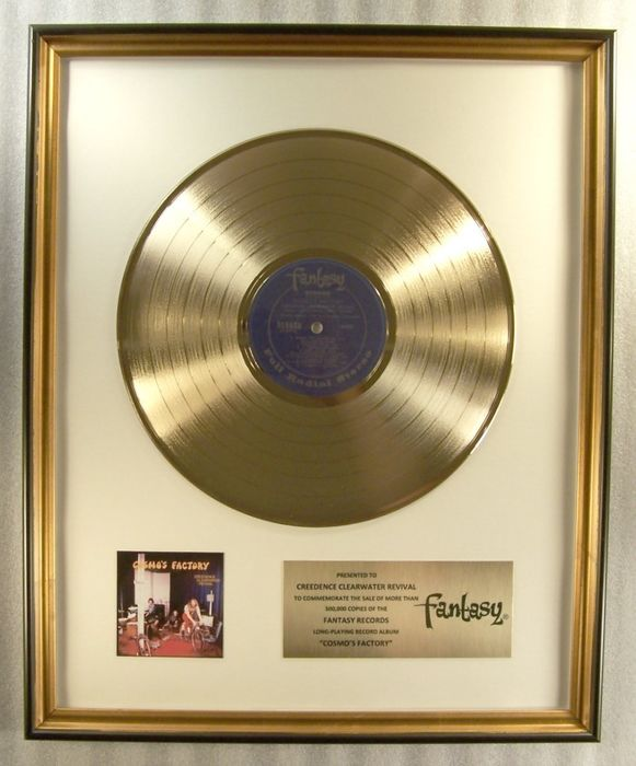 "Creedence Clearwater Revival, John Fogerty - ""Cosmo's Factory"" LP Gold Record Award To Creedence Clearwater Revival - Official In-House award - 1970/1973"