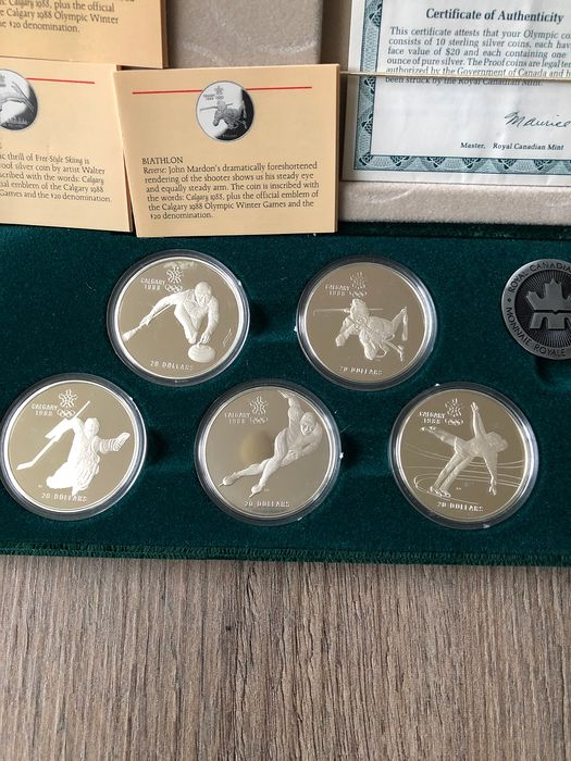 Canada - 20 Dollars 1985/1987 'Winter Olympics Galgary 1988' (10 pieces) in  set - Silver - Catawiki